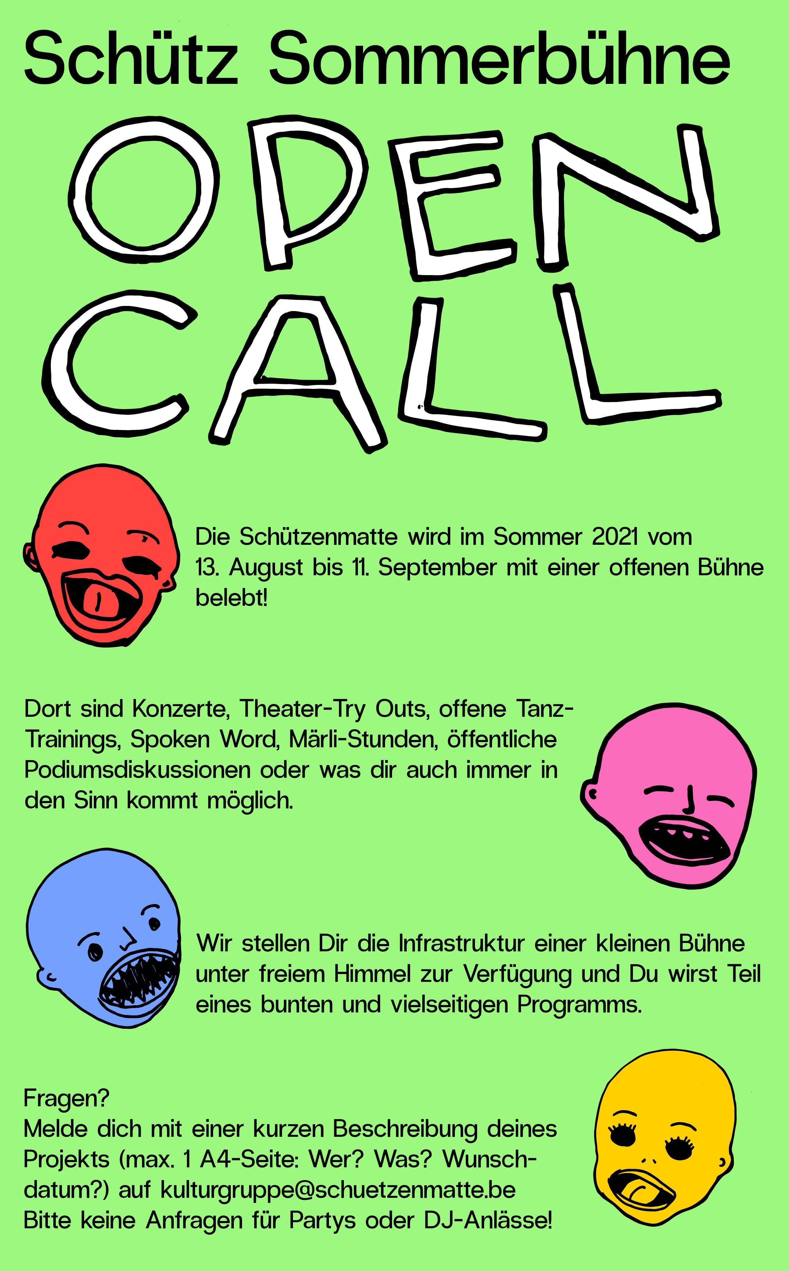 open call: Sommerbühne auf der Schütz Bern